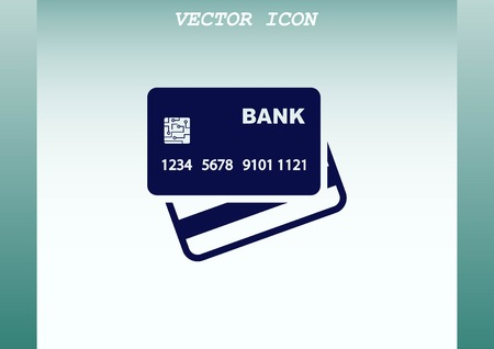 career entry: Corporate card icon, credit card icon, vector illustration. Flat design style