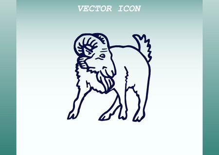 terrible: Vector illustration of a goat. Mountain argali.