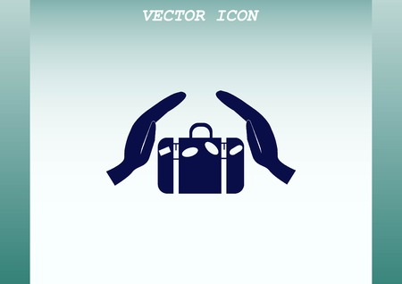 departure board: Suitcase, hand luggage,  security Luggage icon. Illustration