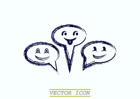 Smile talking bubble icon, vector illustration. Flat design style