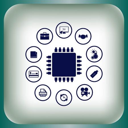 Circuit board, technology icon, vector illustration. Flat design style