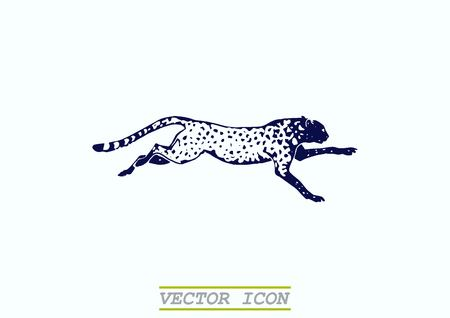 Vector illustration of an evil, wild, aggressive leopard. Prey, cheetah dangerous. Offensive cougar. Panther.