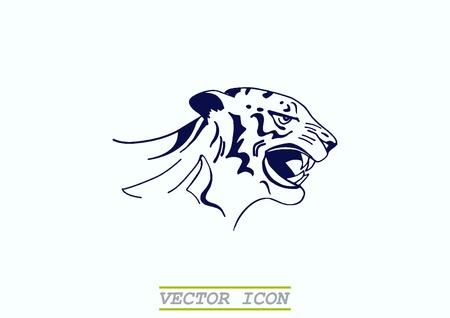 savage: Vector illustration of an evil, savage, aggressive tiger. Predatory, dangerous beast. Angry Tiger.