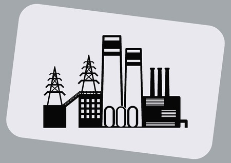 paesaggio industriale: Factory silhouette icon. Vector Illustration. Industrial landscape. Heavy industry. Vettoriali
