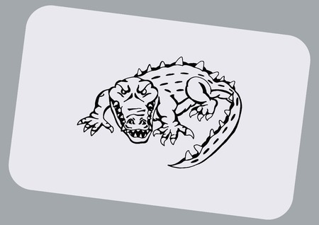 caiman: Vector illustration of the evil head, ferocious, aggressive crocodile. Predatory, dangerous beast. Angry alligator, caiman. Illustration