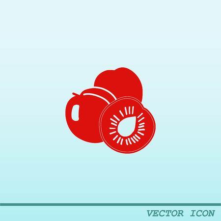icon: Peach icon. Fruit icon. Illustration