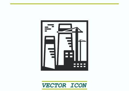 paesaggio industriale: Factory silhouette icon. Vector Illustration. Industrial landscape. Vettoriali