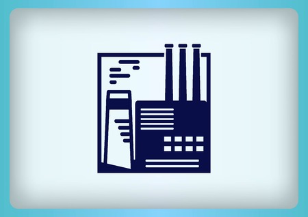 heavy industry: Factory silhouette icon. Vector Illustration. Industrial landscape. Heavy industry. Illustration