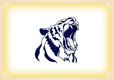 Vector illustration of an evil, savage, aggressive tiger. Predatory, dangerous beast.