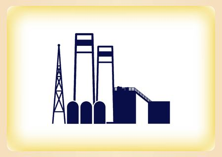 heavy industry: Factory silhouette icon. Vector Illustration. Industrial landscape. Heavy industry .