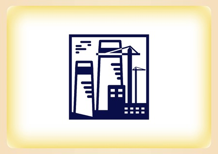 paesaggio industriale: Factory silhouette icon. Vector Illustration. Industrial landscape. Heavy industry .