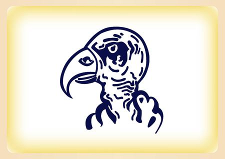 ferocious: Vector illustration of the evil head, ferocious, aggressive vulture. Predatory, dangerous beast. Angry Eagle.
