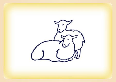 baa: Vector illustration of a sheep. Flock of sheep. sheep .