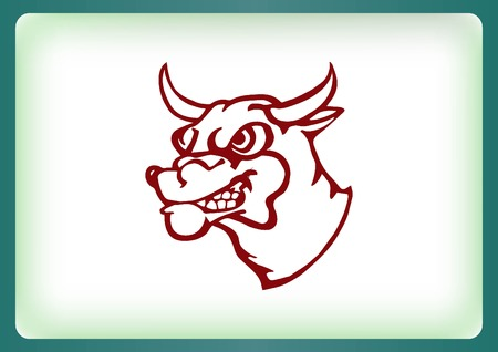 ferocious: Vector illustration of the evil head, ferocious, aggressive bull. Predatory, dangerous beast. Angry bison.