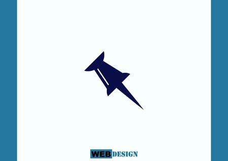 push: push pin icon, vector illustration. Illustration