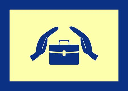 paper dolls: Leather briefcase icon.