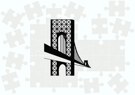 City silhouette icon. Vector Illustration.