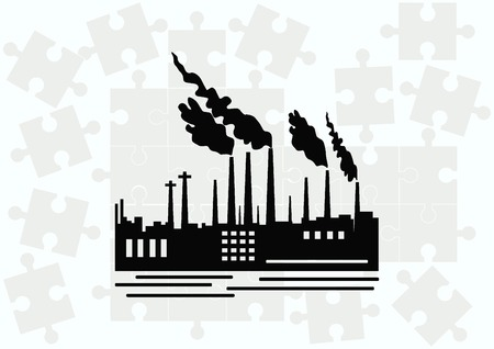 Factory silhouette icon. Vector Illustration. Industrial landscape. Illustration