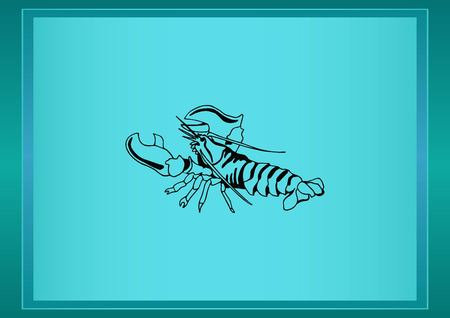 crabby: Lobster, cancer icon. Vector illustration. Logo, graphics, seafood. Marine reptile.