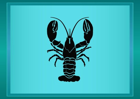 crustacea: Lobster, cancer icon. Vector illustration. Logo, graphics, seafood. Marine reptile.