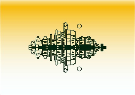 City silhouette icon. Vector Illustration.