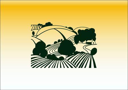 rye: Retro landscapes.  vector illustration, Agriculture field. Illustration