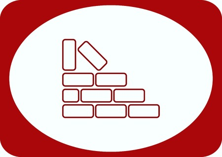 Bricks (brickwork, masonry), icon Illustration