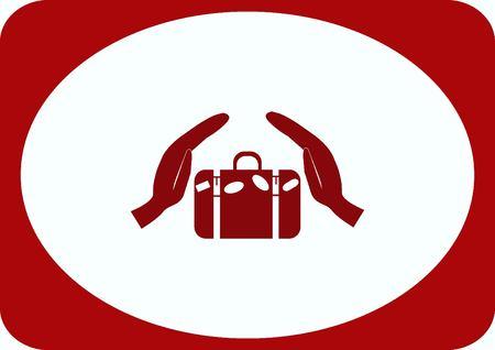 Suitcase, hand luggage,  security Luggage icon. Illustration