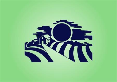 Retro landscapes. Editable   vector illustration, Agriculture field.