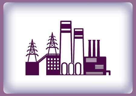 factory silhouette: Factory silhouette icon. Vector Illustration. Industrial landscape. Heavy industry. Illustration