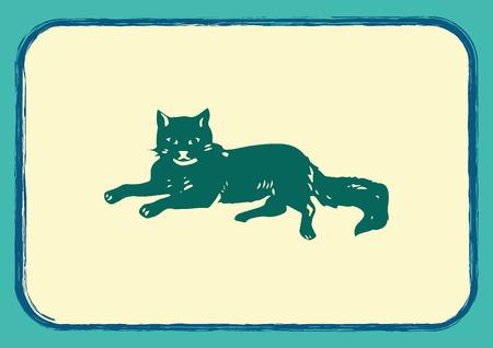 licking: Cat icon, Vector illustration. Illustration