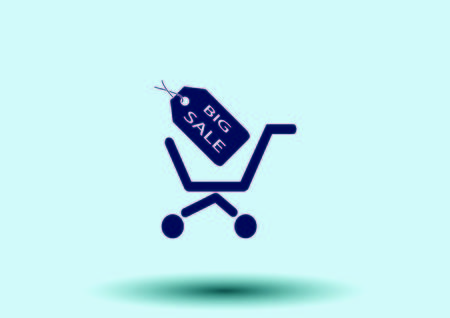 add to cart: Shopping trolley, cart icon, On line sale icon Illustration