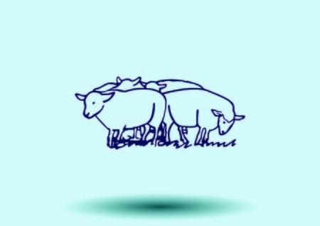 pasen schaap: Vector illustratie van een schaap. Schaapskudde.