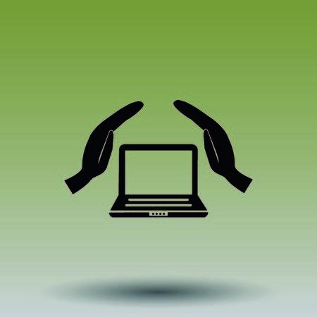 firewall: Computer, laptop icon Illustration