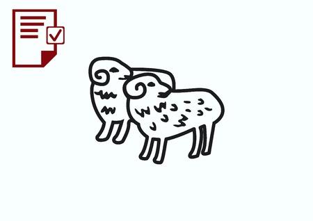 flock: Vector illustration of a sheep. Flock of sheep. sheep logo. Illustration