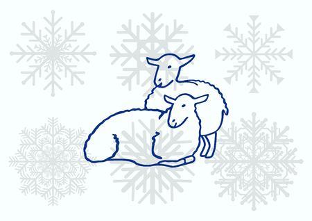 flock: Vector illustration of a sheep. Flock of sheep. Illustration