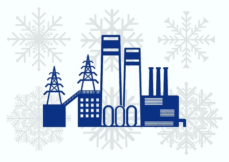 heavy industry: Factory silhouette icon. Vector Illustration. Industrial landscape. Heavy industry