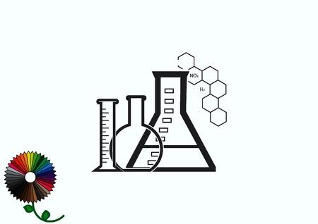 Laboratory equipment, chemistry, science icon Illustration