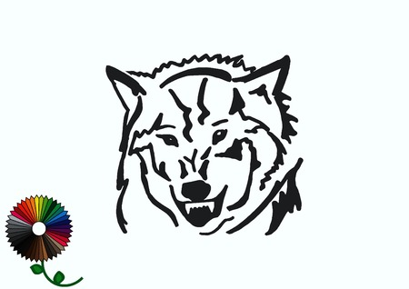 patrol: Wolf icon, vector illustration. Illustration