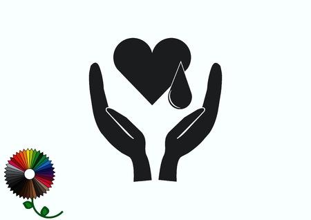 Human heart, Cardiology resuscitation icon Vector Illustration