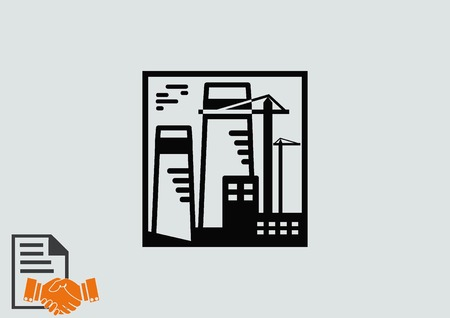 factory silhouette: Factory silhouette icon. Vector Illustration. Industrial landscape. Heavy industry logo.