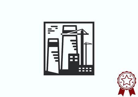 paesaggio industriale: Factory silhouette icon. Vector Illustration. Industrial landscape. Heavy industry logo.