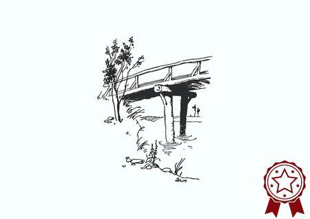 rye: Retro landscapes. Editable EPS10 vector illustration, Agriculture field.