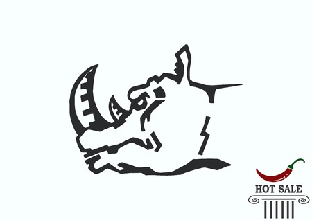 Vector illustration of the evil head, ferocious, aggressive rhino.  Predatory, dangerous beast. Angry rhino. Illustration