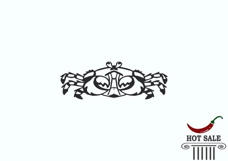 crustacea: Vector illustration of a crab. Logo, graphics, seafood. Marine reptile.