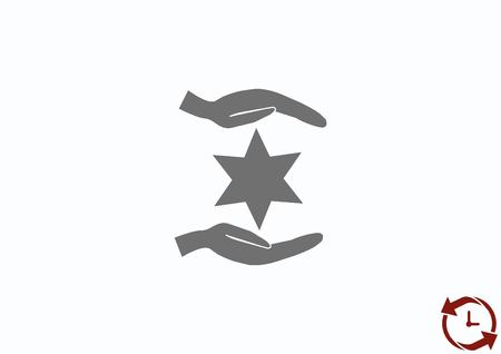 talmud: Star of David Jewish synagogue icon Illustration
