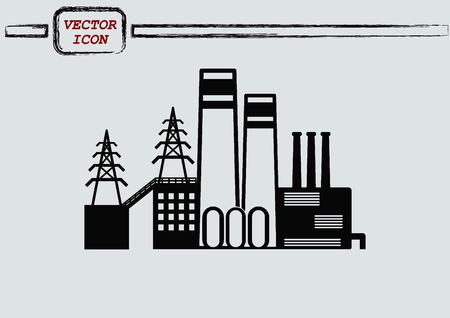 factory silhouette: Factory silhouette icon. Vector Illustration. Industrial landscape. Heavy industry