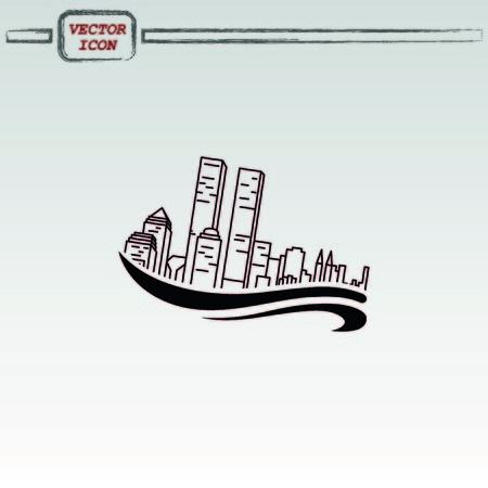 typhoon: Flood, Typhoon icon. Disaster.