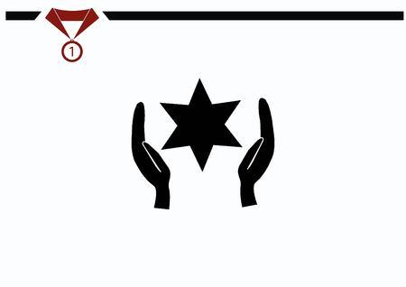 synagogue: Star of David Jewish synagogue icon Illustration