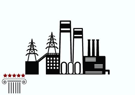 factory silhouette: Factory silhouette icon. Vector Illustration. Industrial landscape. Illustration